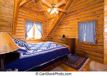 Close up on a Bedroom in a Cabin - Close up on a Bedroom in...