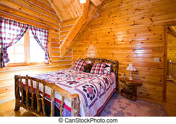 Close up on a Bedroom in a Cabin
