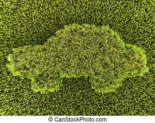 Close-up on a car made of moss