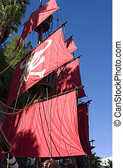 Close up on a Pirate Ship in Las Vegas