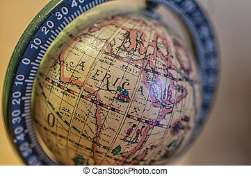 Close-up on a small globe