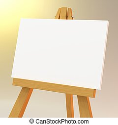 Close up on a wooden easel with a white canvas - three...