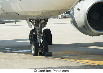 close up on airplane wheel