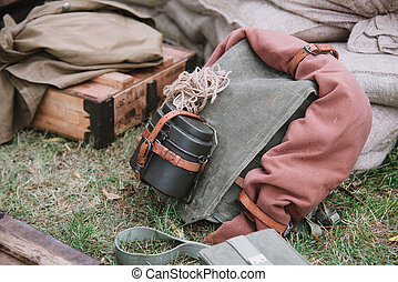 close up on American soldier equipment on world war 2