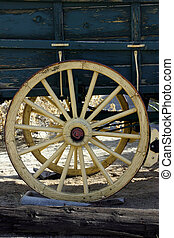Old Antique Wagon Wheel - Close up on an Old Antique Wagon ...
