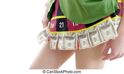 Close up on casino enternatiner girls costume over white...