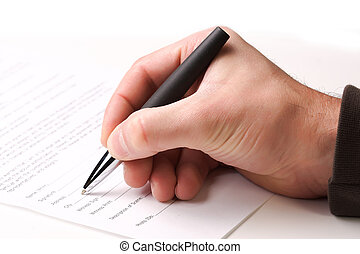 fill a form - close up on caucasian hand, fill a form...