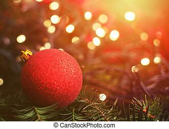 close up on christmas ball on the tree
