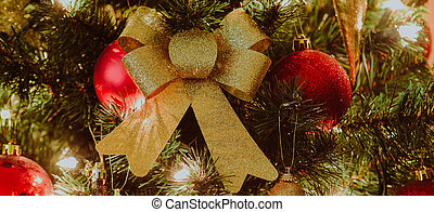 close up on christmas decoration on the tree