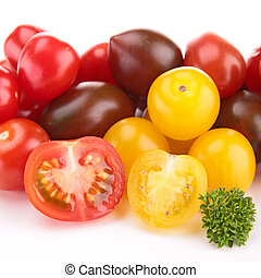 close up on colorful cherry tomatoes