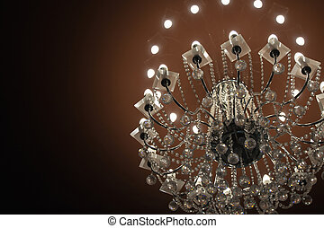 Close up on crystal of contemporary chandelier.