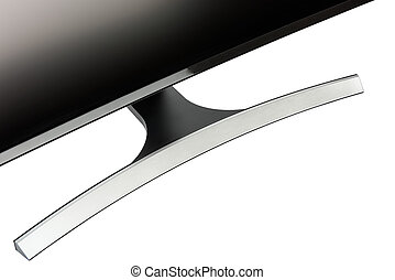 Close up on curved design foothold of a modern computer display