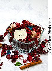 Isolated potpourri - close up on dried leaves and rose