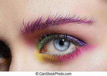 Close up on eyes , making colorful eyeshadows and eyeliner tutorial