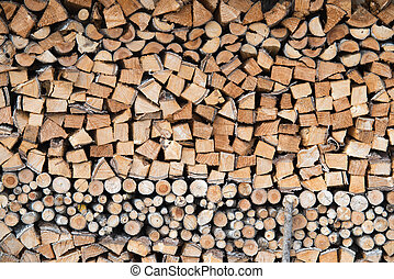close up on Firewood texture or background, wood ready for winter