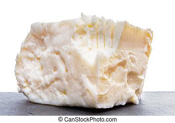 Close up on full fat feta cheese