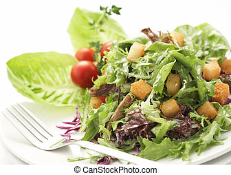 close-up on green salad