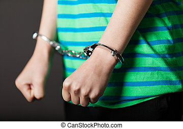Close up on hands tied with handcuffs