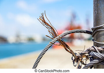 close up on iron cable on the ship