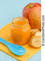 Close up on jar of baby food