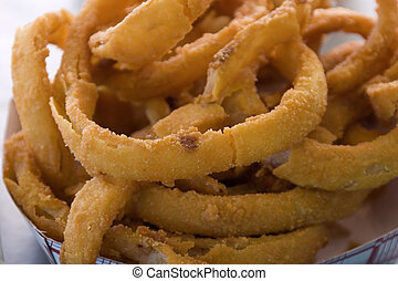 Close up on Onion Rings - Close up shot of Onion Rings