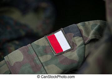 Close up on Polish flag on military uniform