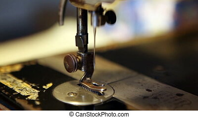 close up on sewing machine