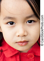 Close-up on the face of a little girl