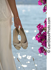 close-up on the shoes of the bride