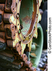 Close up on Wheels of Military Tank