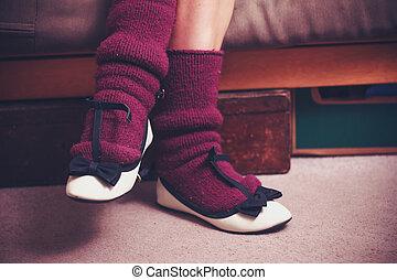 Close up on woman's woolen socks