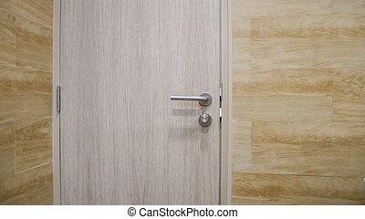 close up on wooden door.