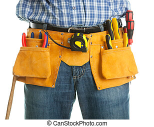 Close-up on worker's toolbelt. Isolated on white