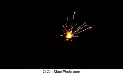 Close up one firework sparkler over black