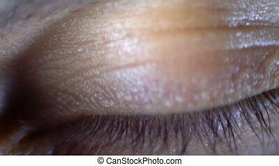 close-up, oog, macro, het knipperen, menselijk, mannelijke