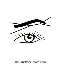 close-up, oog, vrouwlijk, thread., wenkbrauw, -, wenkbrauw, ...
