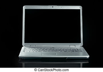 close up. opened laptop on gray background
