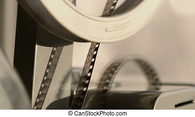 close-up, oud, het tonen, film projector