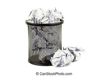 Close up Overflowed wastepaper basket on white background