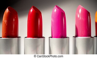 Close up panning video of lipsticks in studio - Close-up ...