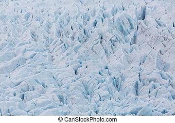 peaks and crevasses of Vatnajokull glacier in Iceland