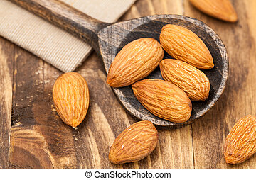 close up Peeled almonds nut