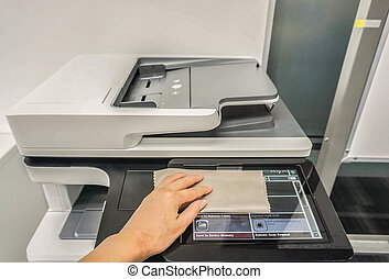 close up people clean touch screen of office printer for maintenance