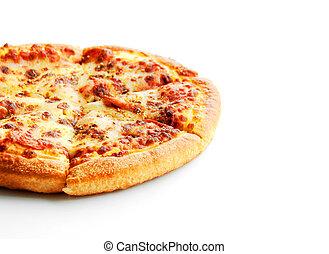peperoni pizza on white isolate - close up peperoni pizza on...