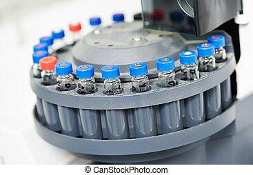 close-up, pequeno, laboratório, frascos, em, cartucho