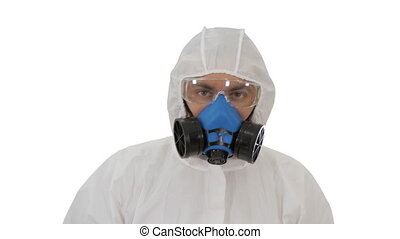 Person wearing a hazmat suit and mask walking on white background.