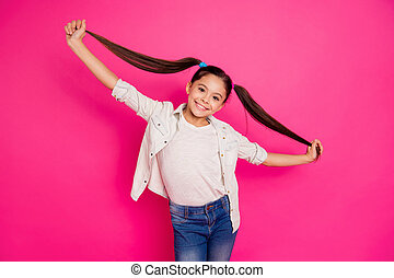 Close up photo little she her brunette girl long pretty hair pigtails style up in hands arms rest relax school holidays wearing casual jeans denim shirt isolated rose vivid vibrant background