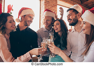 Close up photo new year winter december event six members company buddies ladies he guys wineglasses golden sparkling wine beverage wear dresses shirts formalwear hanging out loft room indoors