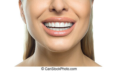 Close up photo of a female smile. Dental concept. Isolated on white background.