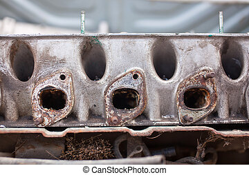 Close-up photo of An exhaust manifold
